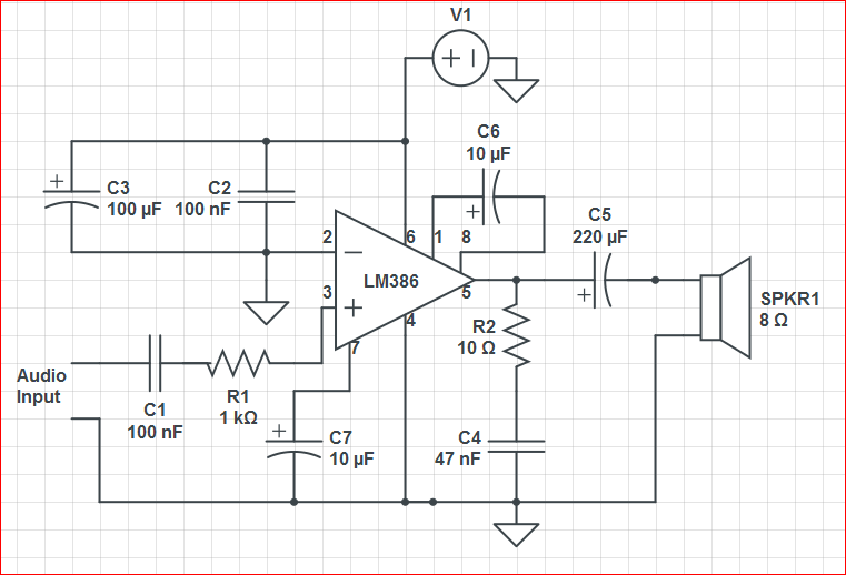 noise LM386 audio amplifier not amplifying