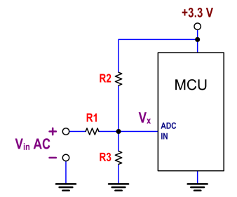 microcontroller Analog to Digital Converter and Negative Voltages - schematic