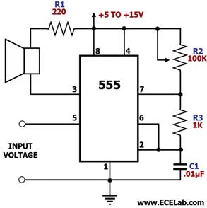 oscillator How to control a speaker - schematic