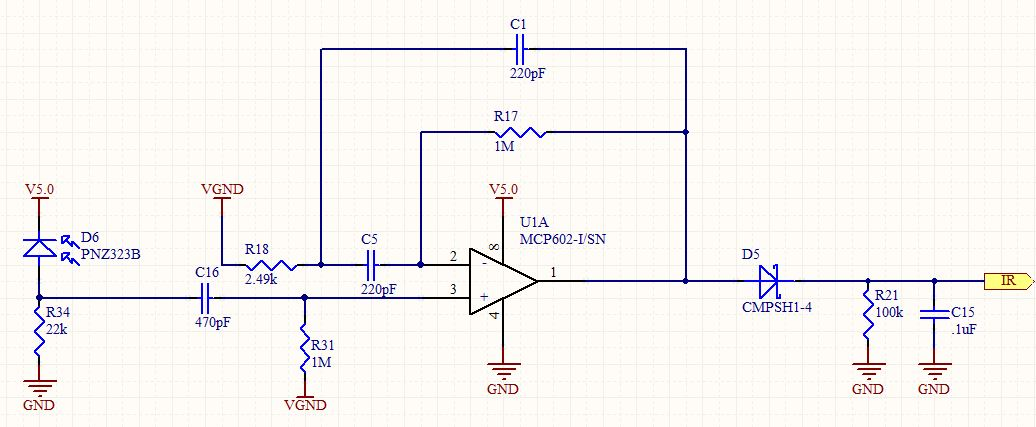 op amp IR Demodulator Design - schematic