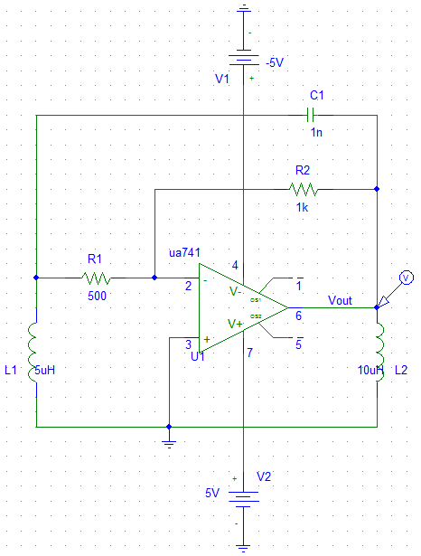Op Amp based Hartley oscillator - schematic