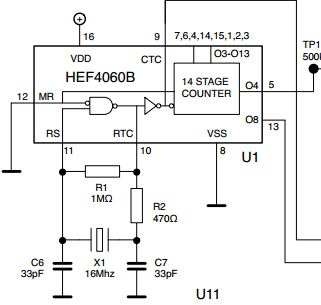 oscillator HEF4060B counter doesnt count - schematic