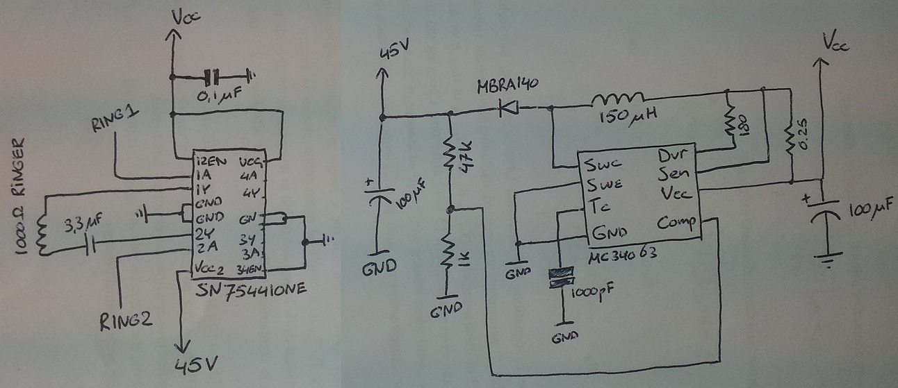 op amp ringer circuit old telephone - schematic