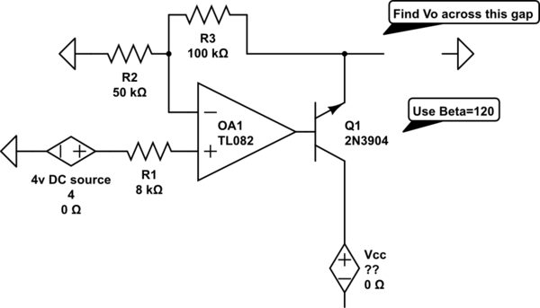op amp Find Vo in an op-amp transistor circuit