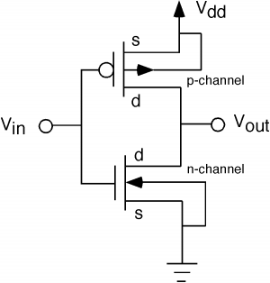 When abstract logic circuits get translated to the electrical equivilant how are conversions from 0 to 1 handled - schematic