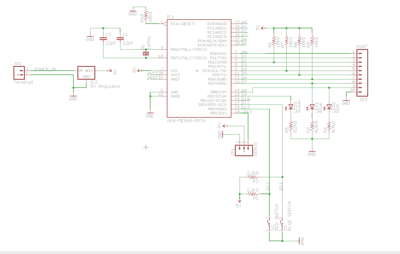 Custom Arduino circuit not working - schematic