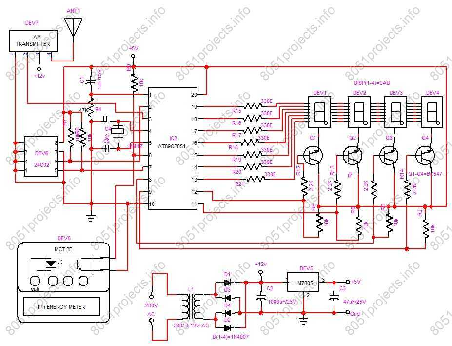 RF based Automatic meter reading - schematic