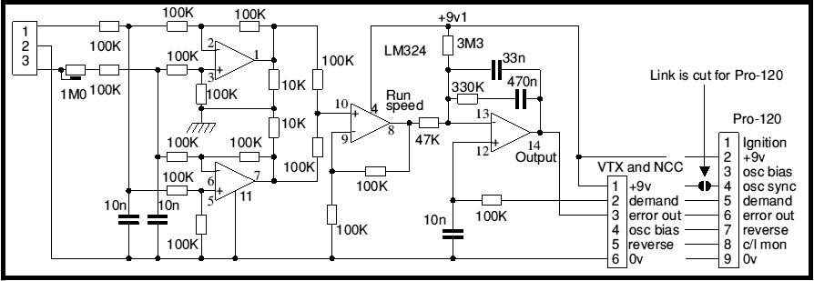 Motor speed controller using LM324 - schematic