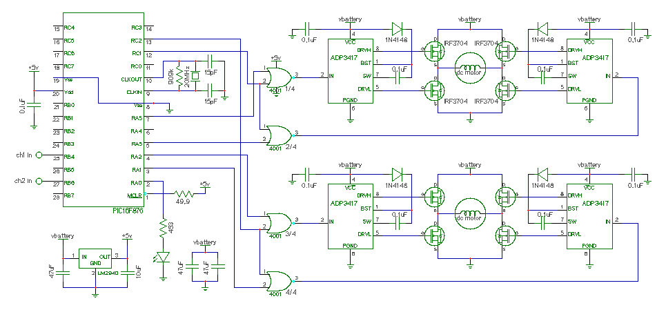Dual DC motor speed control - schematic