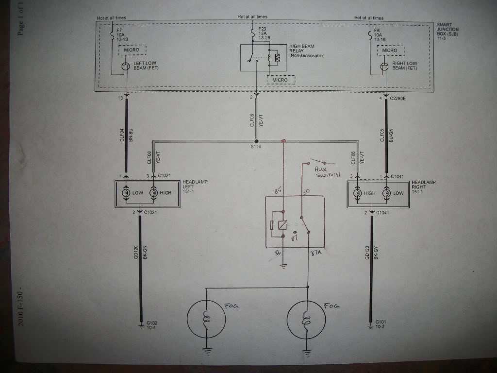Headlamp dimmer controlled foglamps FORD RAPTOR - schematic