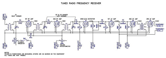 Tuned radio frequency receiver - schematic