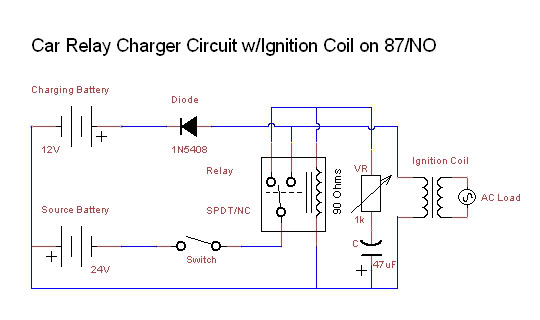 Car Relay Charger circuit - schematic