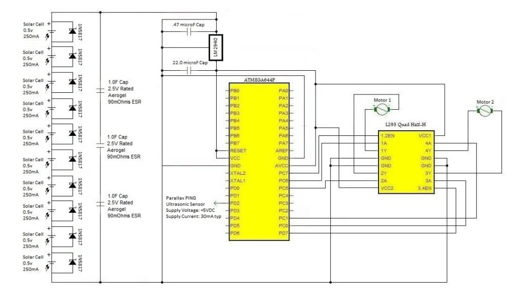 please review my solar racing robot circuit - schematic