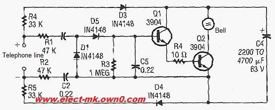 Telephone ring amplifier - schematic