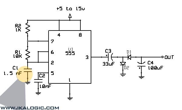 555 based Voltage inverter Schematic - schematic