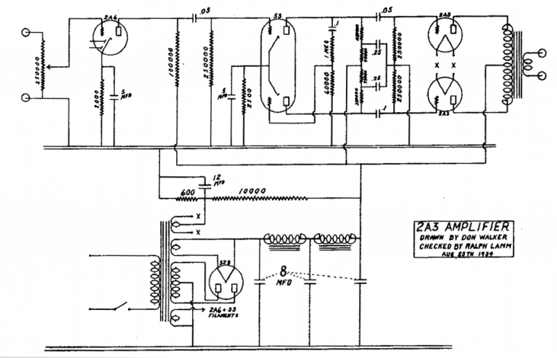 2a3 Tube Amplifier - schematic