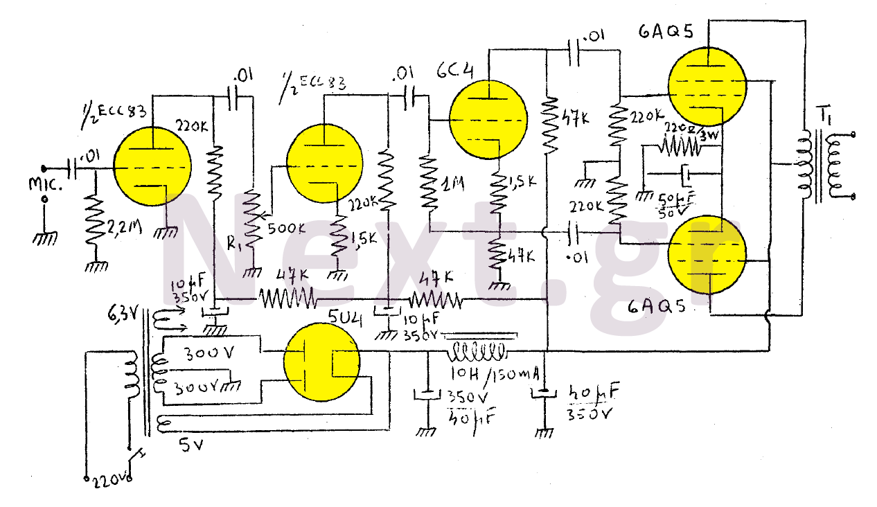 15W Valve Modulator Amplifier circuit