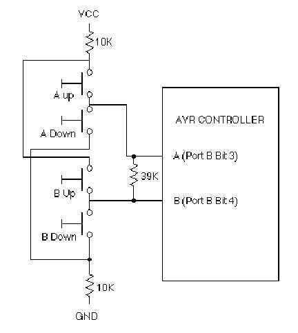 Decoding 4 buttons with two I/O's on AVR - schematic