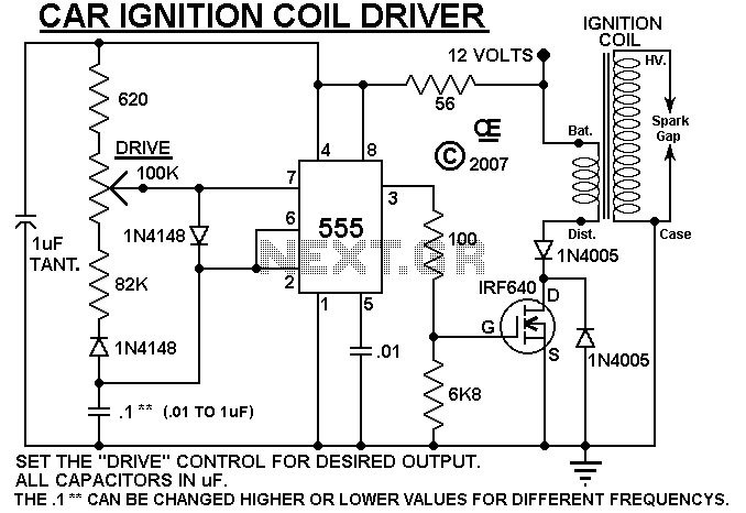 Coil Gun Circuit http://www.next.gr/power-supplies/high-voltage/HV-Ignition-Coil-Driver-using-555-l7670.html
