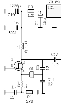 FET Colpitts Oscillator (Microwave) - schematic