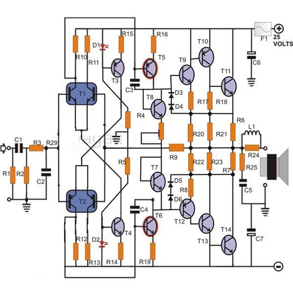 make a 100 watt transistor amplifier circuit under