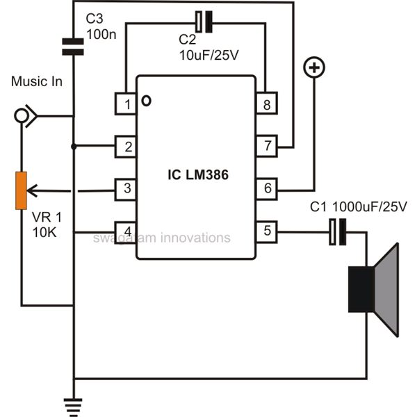 Circuits gt Simple Example For The Lm386 Ic Audio Amplifier