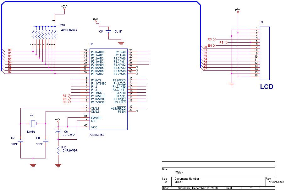 interface an LCD to 89c51 using 4 bit mode - schematic