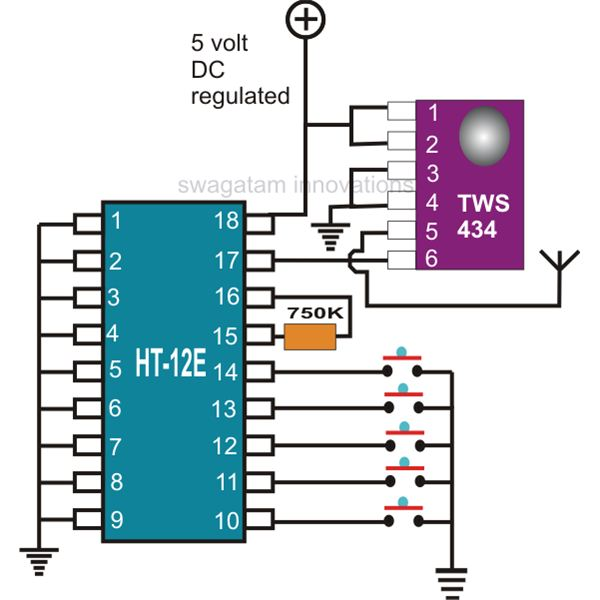 rf remote control encoder and decoder - schematic