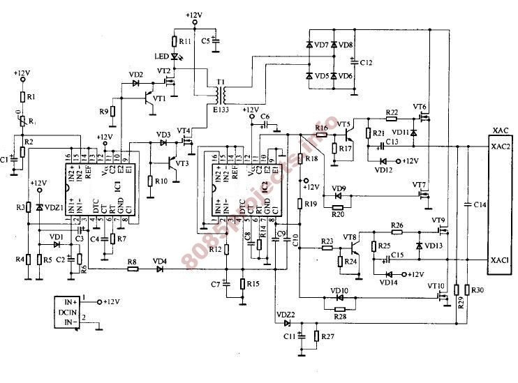 DC to AC inverter H-Bridge - schematic