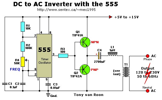 12vac to 220vac inverter circuit - schematic