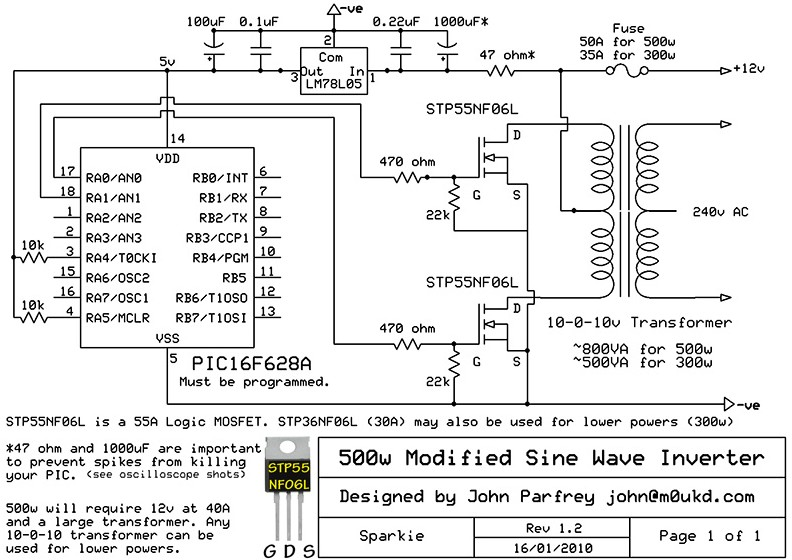 500w modified sine wave inverter - schematic