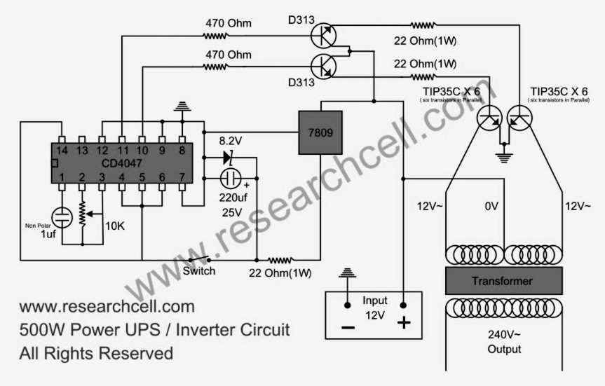 inverter circuit page 4 power supply circuits next gr500w power inverter circuit diagram based tip35c