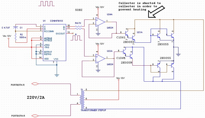 transistor power inverter 400w - schematic