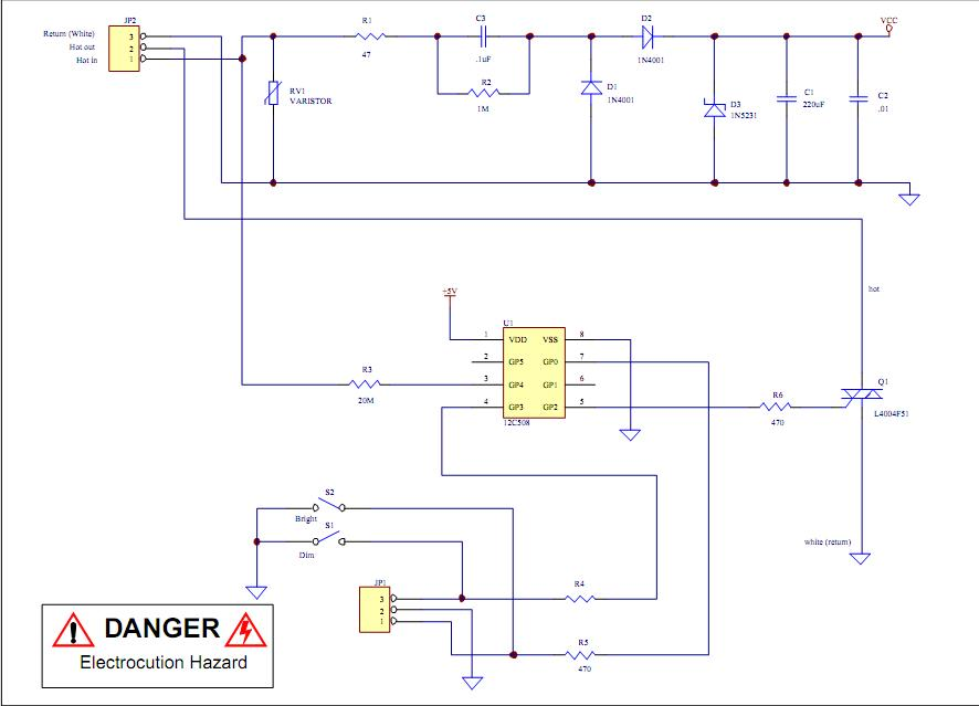 analog light dimmer circuit connected to microcontroller