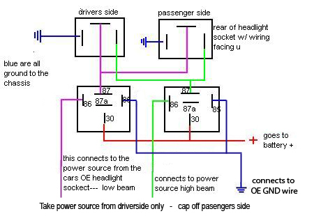 H4 Headlight Relay Wiring Diagram Wiring Diagram Detailed