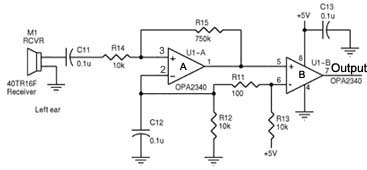 Opamps and ultrasonic receiver circuitry - schematic