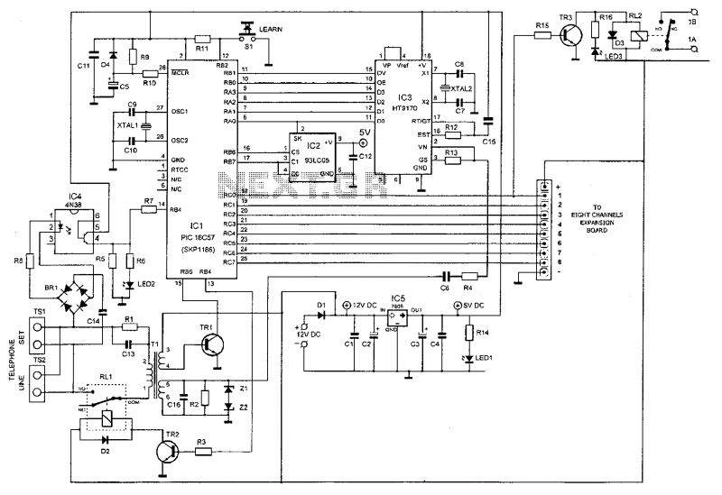 Microcontroller Based Telephone Remote Control Circuit - schematic