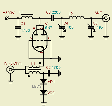 6N7 Tube QRP Power Amplifier - schematic
