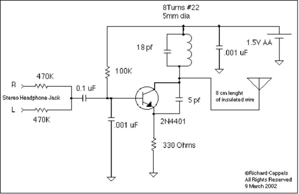 1.5V Battery FM transmitter - schematic