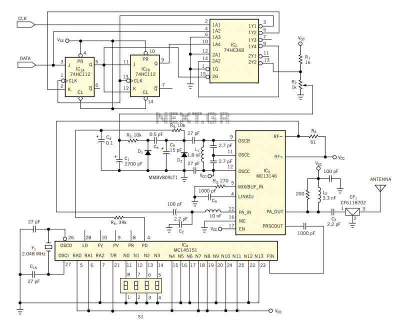 RF transmitter uses AMI encoding - schematic