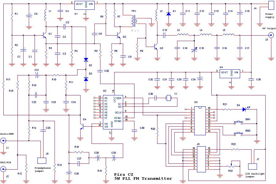 5W PLL FM Transmitter (PIC16F627A) - schematic