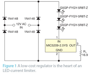 LED current limiter accepts ac or dc - schematic