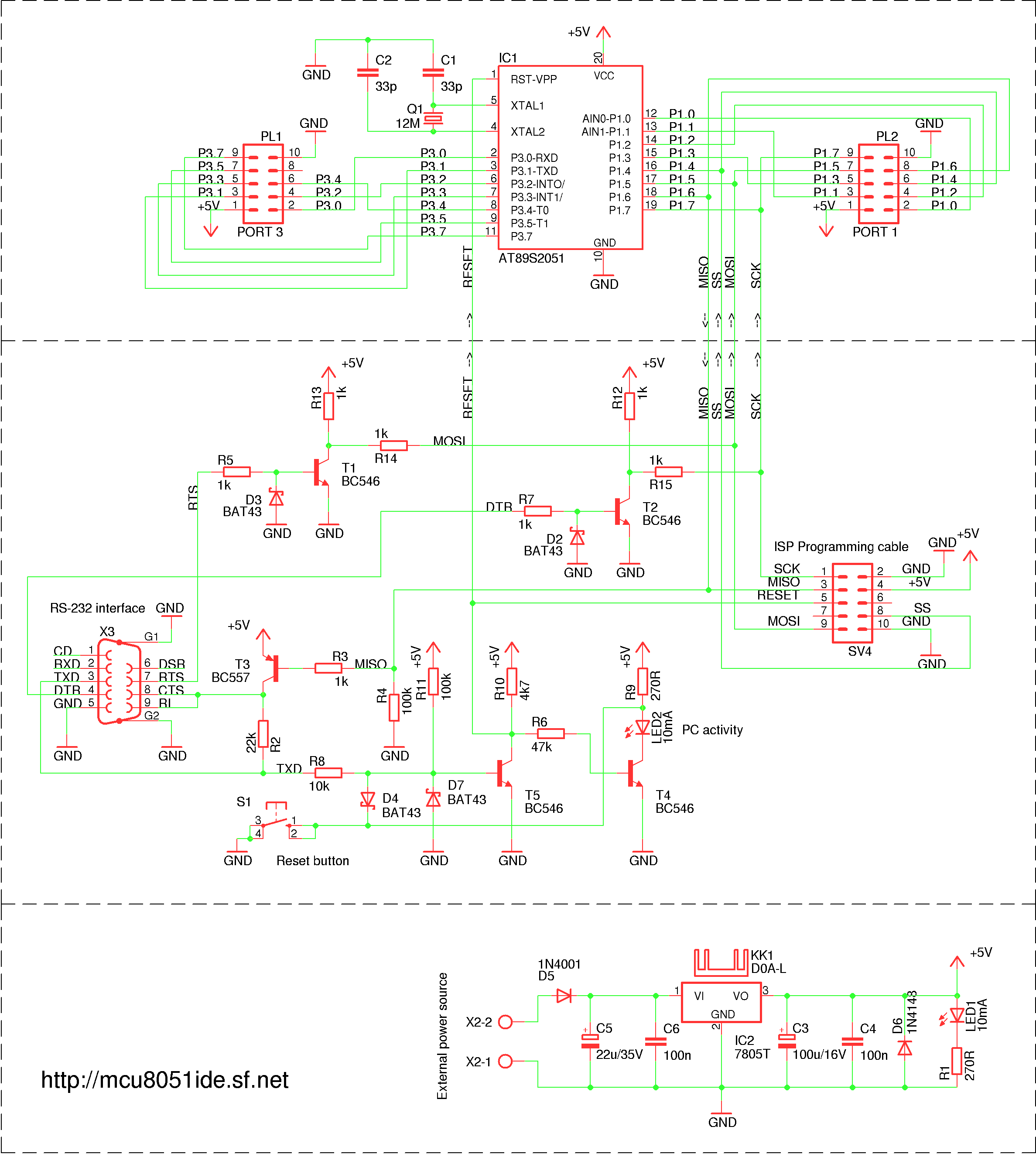 Serial programmer circuit for AT89Sx MCUs
