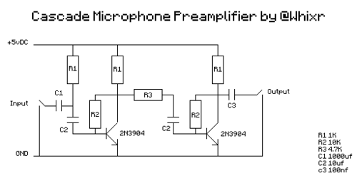 diy microphone preamp - schematic