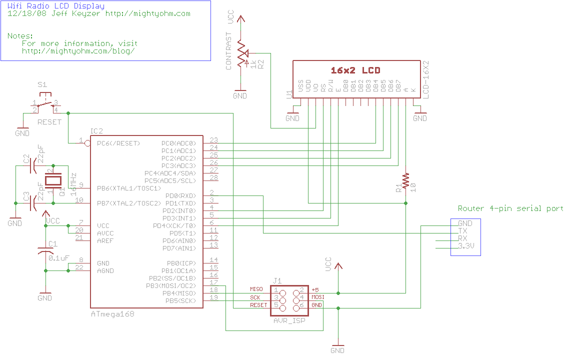 wifi radio with lcd display - schematic