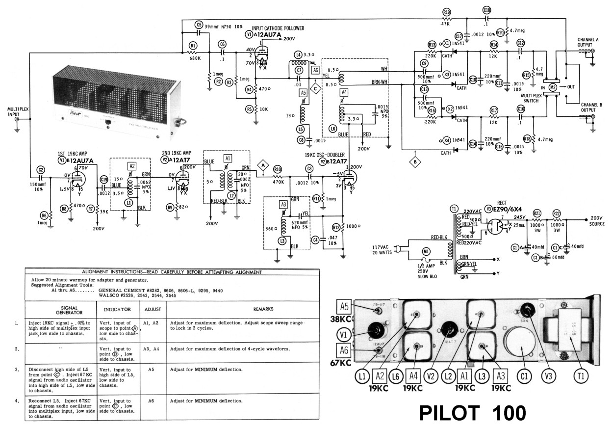 am/fm radio & Pilot 100 stereo demodulator - schematic