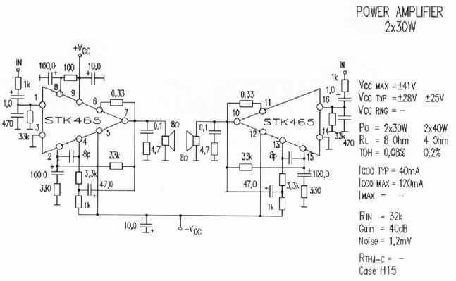 Power Amplifier 2x30W - schematic