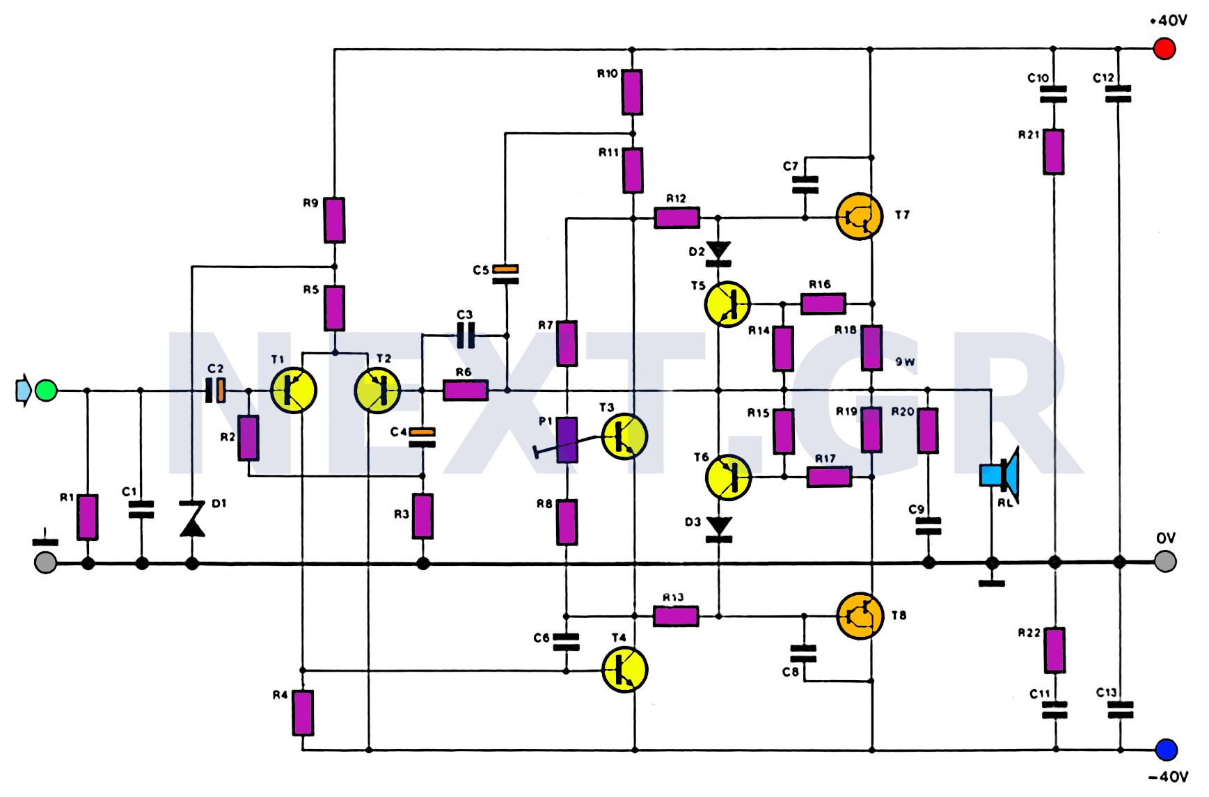 100W HiFi Audio Amplifier Circuit