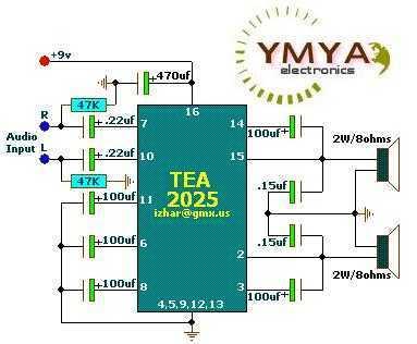 Stereo Audio Amplifier 2x2W or mono 5W ( TEA2025 ) - schematic