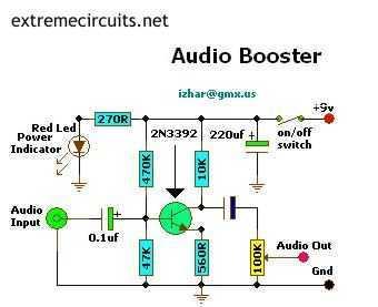 Mini Audio Booster Amplifier - schematic